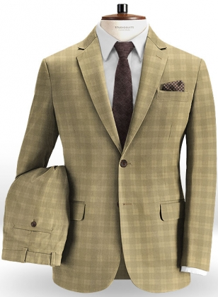 Marc Stretch Cotton Khaki Suit