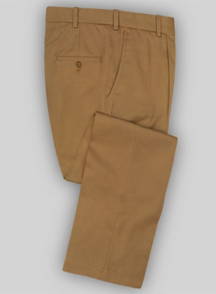 Tan Peach Finish Twill Tailored Chinos