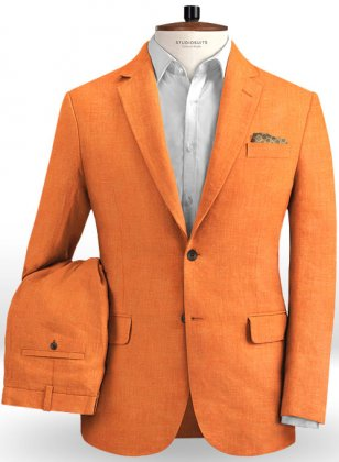 Pure Neon Orange Linen Suit