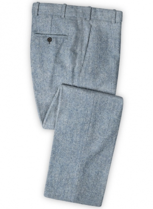 Light Blue Denim Tweed Pants