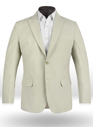 Tropical Light Beige Linen Jacket - 40R
