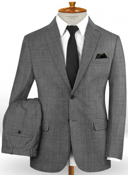 Napolean Sharkskin Gray Wool Suit
