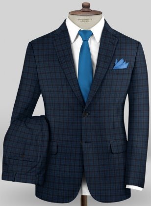 Scabal Mosaic Paggy Blue Wool Suit