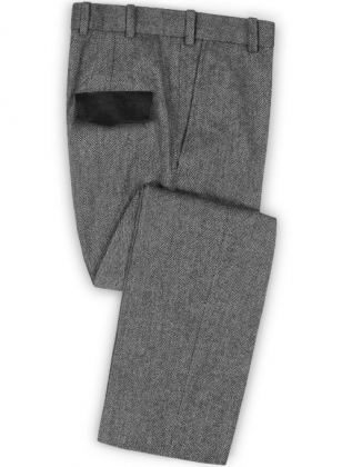 Vintage Herringbone Gray Tweed Pants - Leather Trims