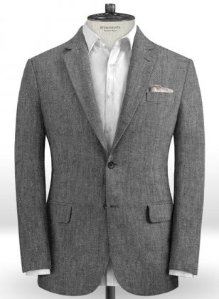 Italian Carbon Black Twill Linen Jacket