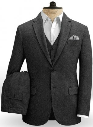 Charcoal Heavy Tweed Suit