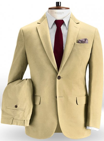 Italian Khaki Peach Finish Chino Suit
