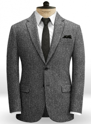 Light Weight Slubby Black Tweed Jacket