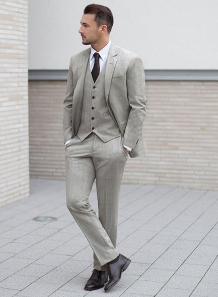 Worsted Light Gray Wool Suit - Ready Size
