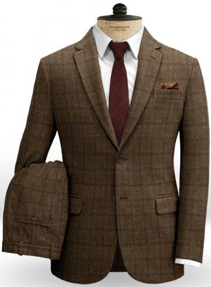 Vintage Jones Brown Checks Tweed Suit