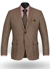 Italian Denim Brown Linen Danish Style Sports Coat