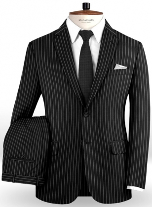 Napolean Black Stripe Wool Suit