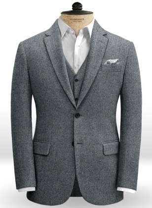 Mid Blue Herringbone Flecks Donegal Tweed Jacket