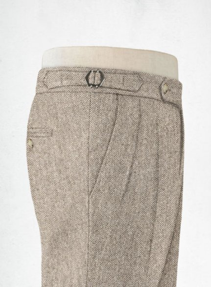 Vintage Herringbone Brown Highland Tweed Trousers