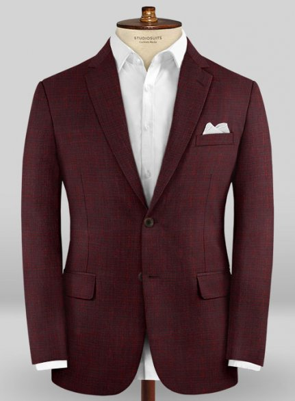 Scabal Taormina Cochi Wine Wool Jacket
