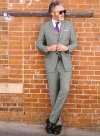 Sharkskin Light Gray Wool Suit