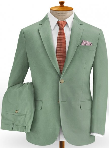 Stretch Summer Weight Spring Green Chino Suit