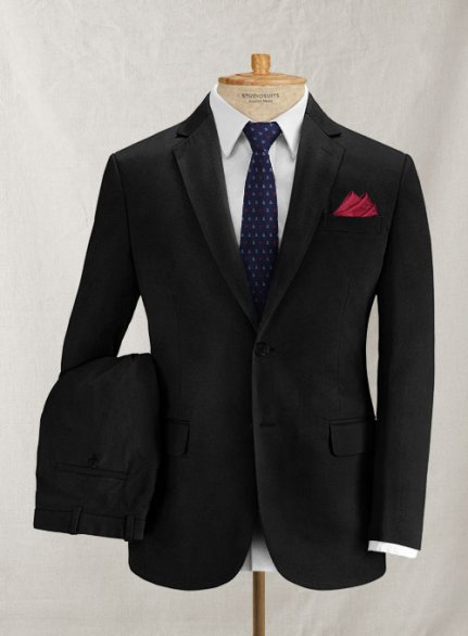 Italian Brushed Cotton Black Suit