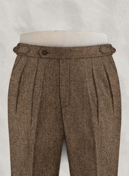 Rust Herringbone Highland Tweed Trousers