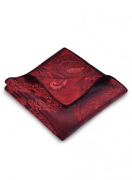 Paisley Pocket Square - Red