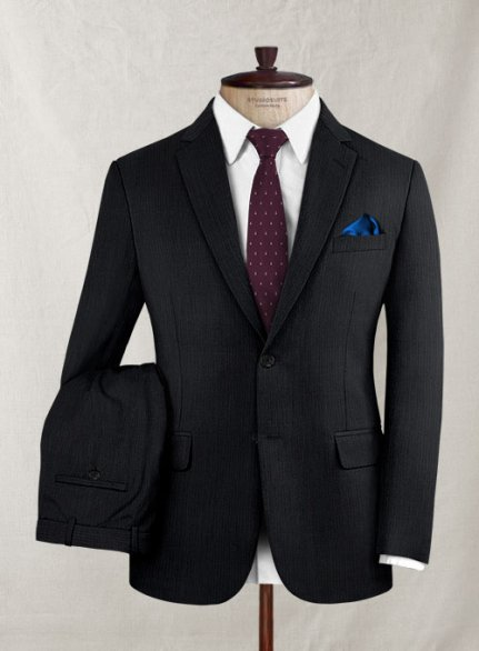 Zegna Riani Mini Stripe Black Wool Suit