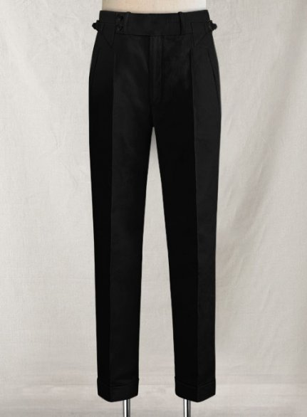 Safari Black Heritage Cotton Linen Trousers