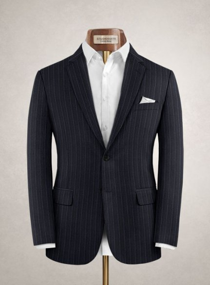 Charles Clayton Mielli Blue Stripe Wool Cashmere Jacket