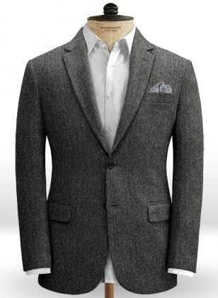 Harris Tweed Dark Gray Herringbone Jacket
