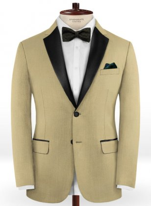 Napolean Light Khaki Wool Tuxedo Jacket
