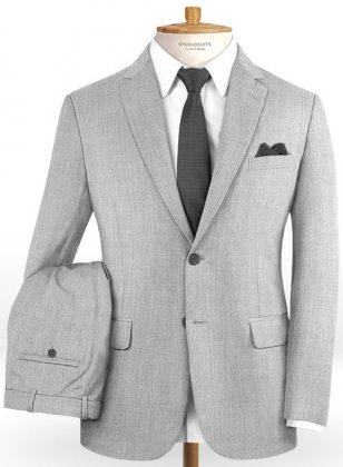 Scabal Worsted Light Gray Wool Suit