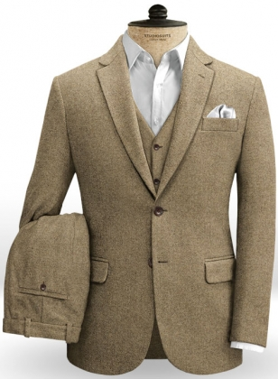 Beige Heavy Tweed Suit