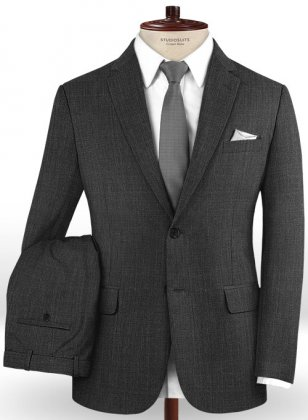 Sharkskin Charcoal Wool Suit