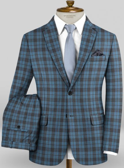 Scabal Mosaic Janero Blue Wool Suit