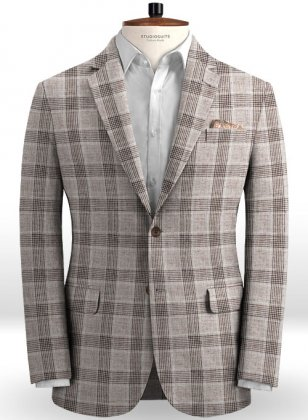 Solbiati Brown Checks Linen Jacket