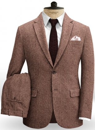 Galway Wine Herringbone Tweed Suit