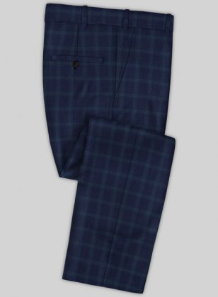 Scabal Mosaic Nippi Blue Wool Pants
