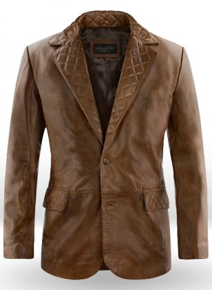 Spanish Brown Harper Leather Blazer