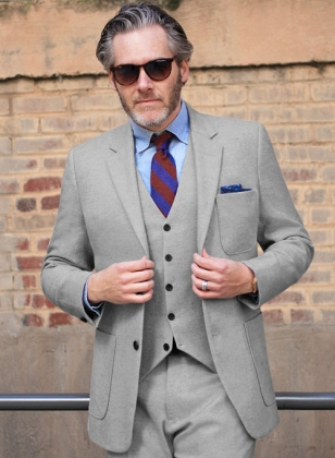 Light Weight Light Gray Tweed Suit