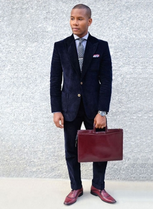 Navy Blue Thick Corduroy Suit