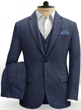 Royal Blue Denim Tweed Suit