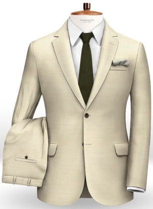 Beige Cotton Wool Stretch Suit