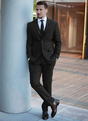 Vintage Scottish Black Tweed Suit