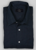 Pure Navy Linen Shirt - Full Sleeves