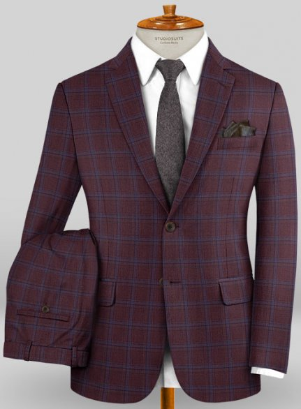 Scabal Mosaic Rini Wine Wool Suit