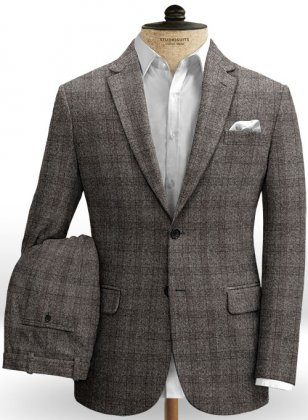Saga Charcoal Feather Tweed Suit