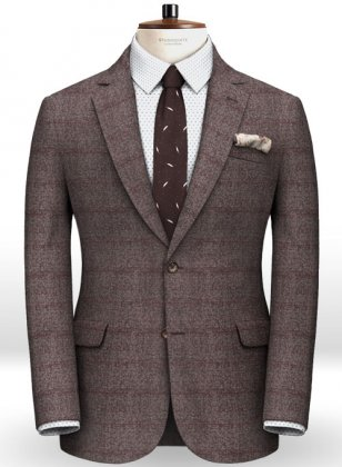Milan Wine Feather Tweed Jacket
