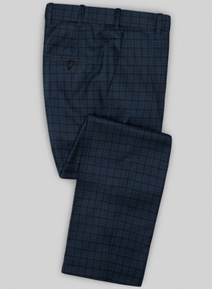 Scabal Mosaic Paggy Blue Wool Pants