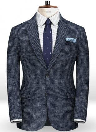 Blue Honey Comb Tweed Jacket