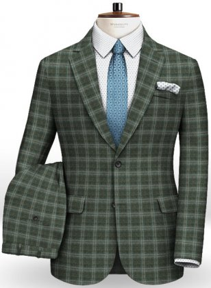 Reda Flannel Checks Green Pure Wool Suit