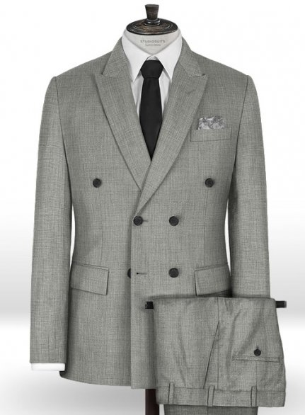 Napolean Sharkskin Light Gray Wool Suit